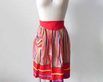 Vintage Striped Red Apron with Pocket