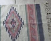 vintage handmade Zapotec indian cream & pastel aztec rug 2x4 ft