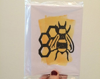 Honeybee Linocut Card