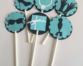 "Cupcake Toppers - Breakfast at Tiffany's - Bridal Shower - 2"" (5 cm) - Sold by the Dozen"