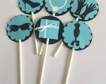 """Cupcake Toppers - Breakfast at Tiffany's - Bridal Shower - 2"""" (5 cm) - Sold by the Dozen - Set of 12 - Baby Shower Topper - Tiffany Blue"""