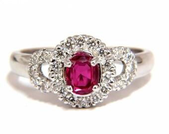 GIA Certified 1.31CT Natural No Heat Ruby Diamond Ring 18KT Origin