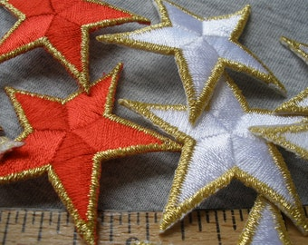 "Red or White Star Appliques Gold Edges Embroidered Stars 1.75"" Sew-on Patriotic Uniform Flag Stars patches scrapbooking Metallic bulk"