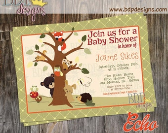 Echo Forest Friends Woodland Baby Shower Invitation - Customized Digital Download OR Prints (Details Below)
