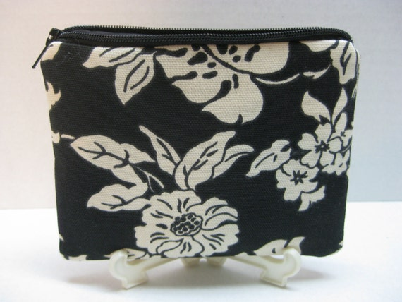 Zipper Pouch Black & White Floral Flowers And Leaves  .