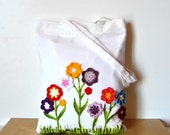 Garden Flowers Tote bag  Handpainted tote crochet flowers Fabric white tote bag, Eco cotton shopper, personalized tote