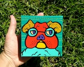 mini painting  4 x 4 canvas Bulldog on Blue