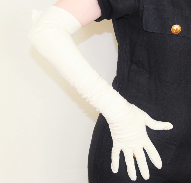 Vintage ladies leather opera gloves -  Leather Opera Gloves Authentic 1950s Vintage Ladies Fashion Over Elbow Zoom