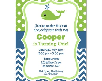 Whale Invitation Printable or Printed with FREE SHIPPING - Fish, Ocean, Beach, Sea Birthday or Baby Shower