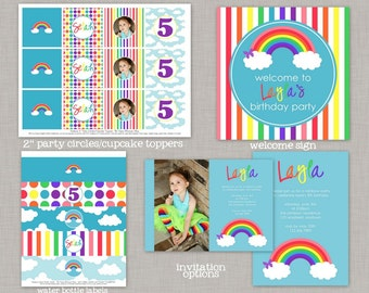 Rainbow Birthday Party, Rainbow Birthday Decorations, Rainbow Birthday, Rainbow Party, Rainbow, Decorations, Over the Rainbow, Printable