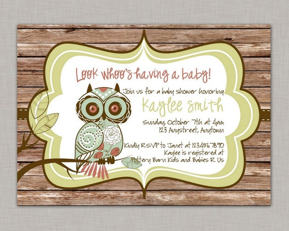 Owl Baby Shower Invitation, Owl Baby Shower, Rustic, Printable