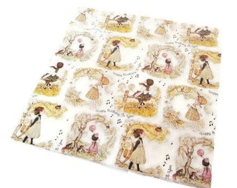 Vintage Wrapping Paper - Happy Birthday in the Woods - Full Sheet Gift Wrap - American Greetings - 1973