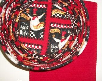 Coiled Fabric Basket Bowl Kitchen Chef Red Black Kitchen Decor