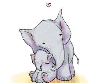 Elephant Love 5x7 - Nursery Art, Children's Wall Art