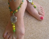Pair of Barefoot Sandals Bohemian Hippie Shoe Soleless Yoga Jewelry Gypsy Foot Sandles Thong Colored Green Yellow Flower READY TO SHIP