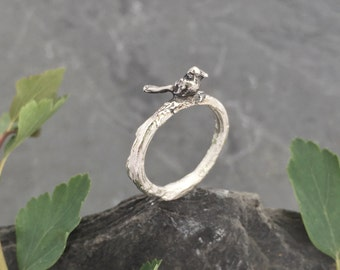 Bird, Twig Ring, sterling silver 'Pete'