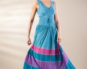 Blue dress, color blocks dress, long dress, summer dress, turquoise dress, v-neck dress, full skirt dress