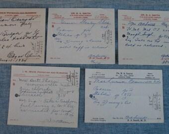 5 Vintage Pharmacy Drug Store Doctor Medicine Prescriptions Codeine Morphine 1930s Auburn, Nebraska Doctors Pharmacist