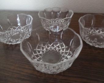 Cut Crystal Bowls, set of 4