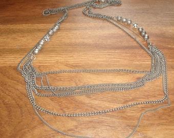 vintage necklace long multi chain silvertone rhinestones heavy