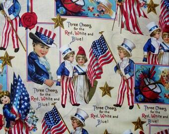 Patriotic Fabric / Victorian Children Fabric  / Vintage Style Fabric / American Flag Fabric  / Uncle Sam Fabric /  Americana Fabric / Yard
