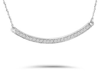 Diamond Bar Pendant, Diamond Curve Pendant, Womens Diamond Necklace, White Gold Diamond Pendant 1/4CT Diamond Curved Bar Pendant White Gold