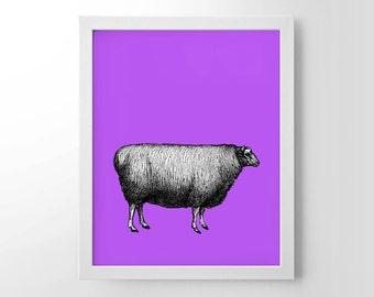Sheep With Pop Color, Vintage Engraving, Simplistic, Cute, Minimalist, Colorful Office, Kitchen, Home, Nursery Decor, Unique Gift, Poster