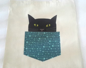 Black Cat Tote Bag- Teal or Purple