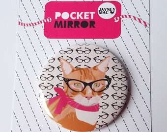 Ginger Cat Pocket Mirror- Cat with glasses