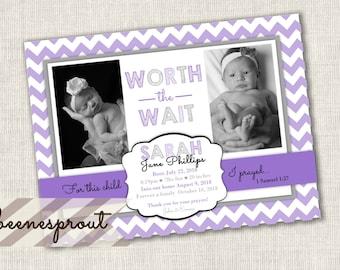 Purple Chevron Adoption Baby Birth Announcement