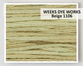 BEIGE 1106 Weeks Dye Works 6- strand embroidery floss : WDW hand over dyed thread cross stitch needlepoint