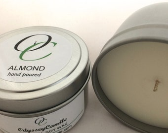 ALMOND//Highly Scented SOY CANDLE 6oz Tin