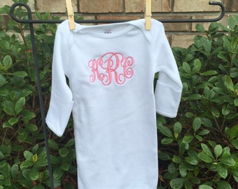 Monogrammed Infant Layette Gown, Infant Gown, Going Home Outfit Girl