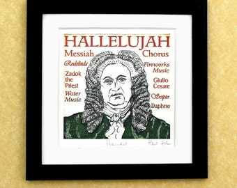 HANDEL - a portrait art print of the great composer