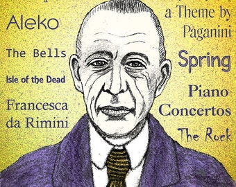 Sergei RACHMANINOFF - a portrait art print of the great Russian composer