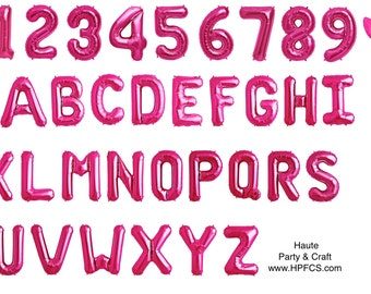 "16"" or 34"" Magenta Pink Foil Mylar Letter Number Balloons (Read or Contact Us First)"