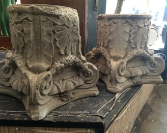 Vintage Romantic Well Worn Concrete Decorative Ornate Artisanal Pair of Pedestal Bases