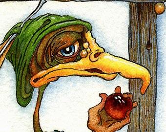fantasy art green bird original art watercolor painting whimsical art