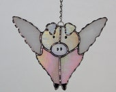 Stained Glass Suncatcher - Iridescent Pink Flying Pig, When Pigs Fly, Original Design, Handmade