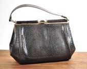 Vintage & Retro Handbags, Purses, Wallets, Bags Vintage Faux Alligator Purse Handbag 40s $45.00 AT vintagedancer.com
