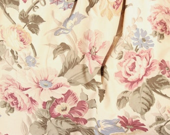 Antique Mid Century 1930s Vintage Foral Roses Floral Roses Drapery Panels