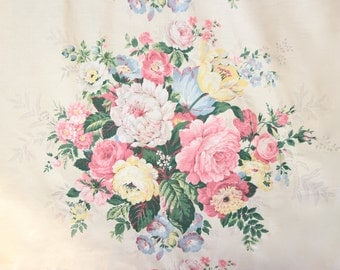 Romantic Country Cottage Pink Cabbage Rose Floral Mid Century 1930s 1940s Vintage Fabric Panel