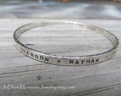 Personalized custom bangle,thick sterling silver,quote,names,words,dates,mom, mothers,grandmothers bracelet,metalsmith jewelry,inspirational