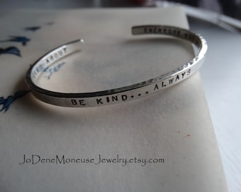 Personalized sterling silver cuff,custom hand stamped,names,words,quote,lat and long,coordinates, memory, mothers,grandmothers,mom bracelet