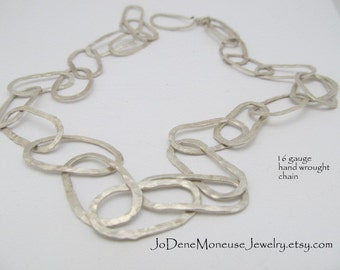 Sterling silver chain,hand forged,large link,metalsmith jewelry,16 gauge sterling silver,hand fabricated metalwork,silver happiness