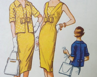 1959 Sheath Dress with Open-Front Box Jacket ~ McCall's 5021 ~ Size 16 Bust 36. Sleeveless Bow Front SHEATH DRESS PATTERN at WhiletheCatNaps