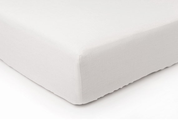 white linen fitted sheet queen twin king or custom size bed sheet. Black Bedroom Furniture Sets. Home Design Ideas