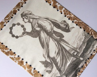 Tapestry Wall Panel, Tambourine Girl || Sueded Cloth, Home Decor, Art for your Wall, Window Treatment, Curtain, Music, Etching, Dance