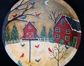 Christmas Folk Art Hand Painted Wooden Bowl - MADE TO ORDER - Red Bird Feeder in Snowy Yard,Cardinals, Blue Jays, Red Barn, Primitive decor