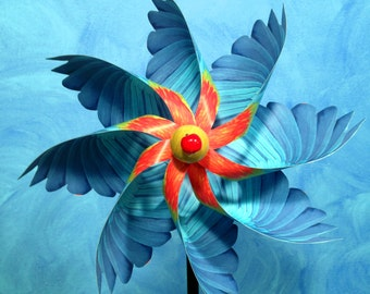 Blue Parrot Pinwheel Spinner Whirligig Windmill